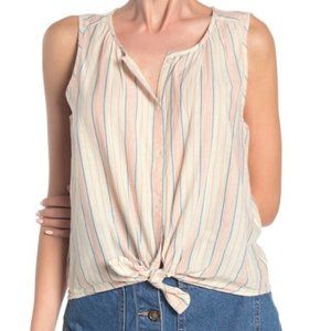 Lucky Brand Striped Tie Front Top